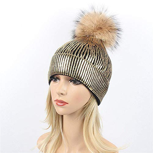 CHIDY Women Large 15cm Ball Warm Knit Beanie Bobble Ski Hat Knitted Cap Cute Plush Hat Christmas Theme Cap ()