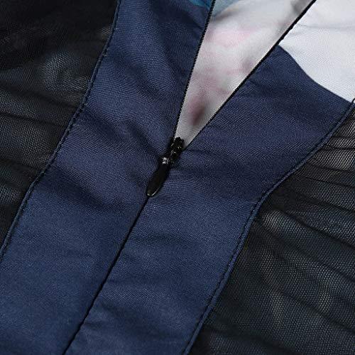 Marine Imprimer Soirée Noire Babe Robes L'épaule Femmes Midi En Hem Robe D'été Imprimé Fleurs Floral Innerternet Traverser Dip Moulante AR354jL