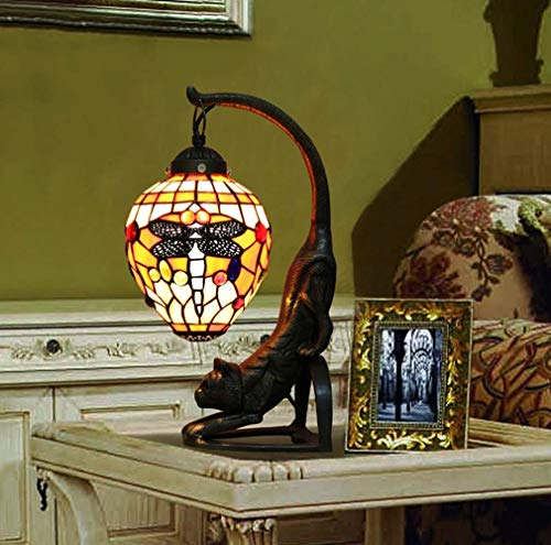 ChuanHan Ceiling Fan Light Chandelier Lightings Tiffany Style Table Lamp Euro Retro Dragonfly Glass Decorative Desk Lamp with Zinc Alloy Cat Base Table Lamp for Bedroom