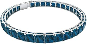 Pulsera cuadrada de topacio azul de 16,5 quilates, con certificado SGL de corte Asscher, pulsera de oro declarado, pulsera de aniversario de boda