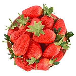 JEDFORE 12Pcs Simulation Artificial Lifelike Big Strawberries Set Fake Fruit for Home House Kitchen Party Decoration 35