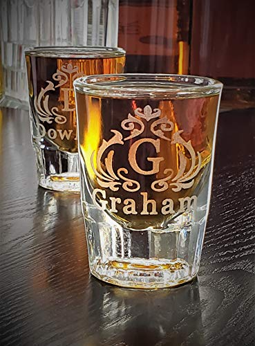 6 Groomsmen gifts, Wedding shot glass set of 6, Unique personalized shot glasses, Two ounce shot glass heavy fluted design (Heavy Fluted Oz 2)