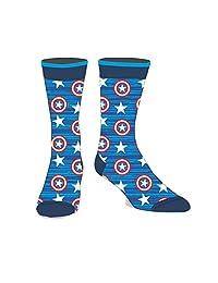 Marvel Comics Licensed Adult Crew Socks (Various Designs) (Captain A Shield)