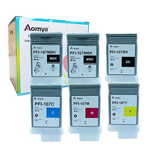 Aomya Compatible Ink Cartridge Replacement for Canon PFI-107 (2MKB, 1BK, C, M, Y) 6 Pack