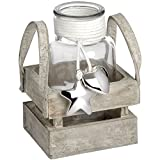 Hill Interiors Display Mason Jar In Wooden Crate (Set Of 3 Jars) (Clear)