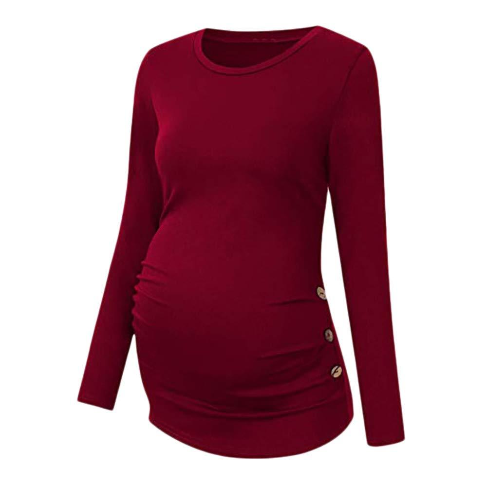 DAY8 Vêtement Femme Enceinte Hiver Pas Cher a la Mode Chemise Femme Enceinte Atuomne Haut Femme Enceinte Manche Longue Printemps Maternité T Shirt Grossesse Tunique Tops Blouse Solide DAY8_ C03873