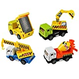 Fajiabao Pull Back Vehicle, Metal Car Toys, Die-Cast Model Vehicles Construction Team Pull Back Dump Truck Mini Diggers Toy for Kids 4 PCS