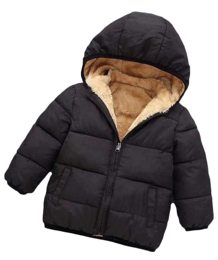 Lutratocro Boy Padded Loose Faux Fur Lined Fleece Hoodid Jacket Parka Coat Black 2T