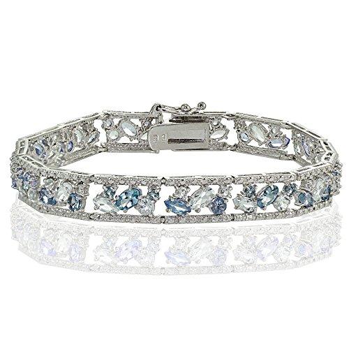 Sterling Silver Blue Topaz and London Blue Topaz Cluster Bracelet by Ice Gems