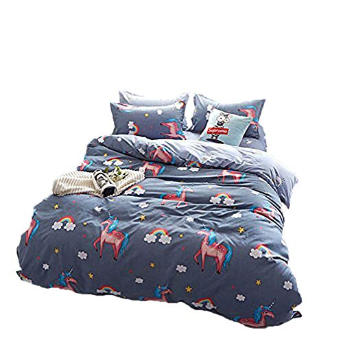 Cartoon Duvet Cover Sets for Girls Women with Hidden Zipper Closure Ultra Soft Cozy Hypoallergenic Microfiber Beautiful Rainbow Unicorns Printed Grey Twin Size (3pcs) by no!no!