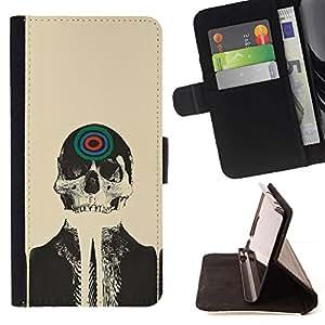 Momo Phone Case / Flip Funda de Cuero Case Cover - Skull Skeleton Art Dibujo Target pintura de la cabeza - Samsung Galaxy S5 V SM-G900