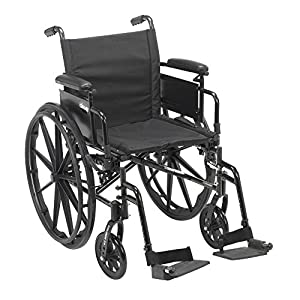 """Drive Medical Cruiser X4 Lightweight Dual Axle Wheelchair with Adjustable Detachable Arms, Desk Arms, Swing Away Footrests, 20"""" Seat"""