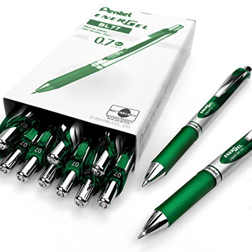 (Pentel EnerGel XM BL77 - Retractable Liquid Gel Ink Pen - 0.7mm - 54% Recycled - Green - Box of 12)