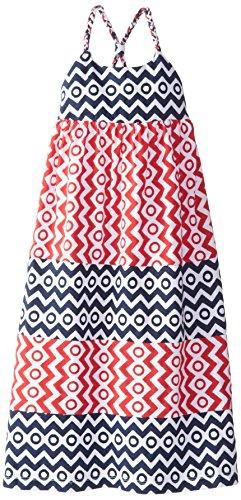 Hartstrings Little Girls' Girl's Knit Jersey Maxi Dress, Red/Blue Stripe, 6X