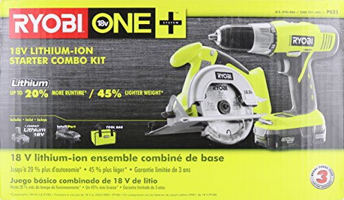 Ryobi P825 18V One+ Cordless Lithium Ion Power Tool Starter Kit (Includes 1/2'' Drill / Driver, 5 1/2'' Circular Saw, Compact Battery, Charger, and Contractor's Bag) by Ryobi (Image #6)