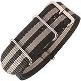 Fluco 22mm Black Grey Stripe Nylon G10 2-Piece Watch Strap