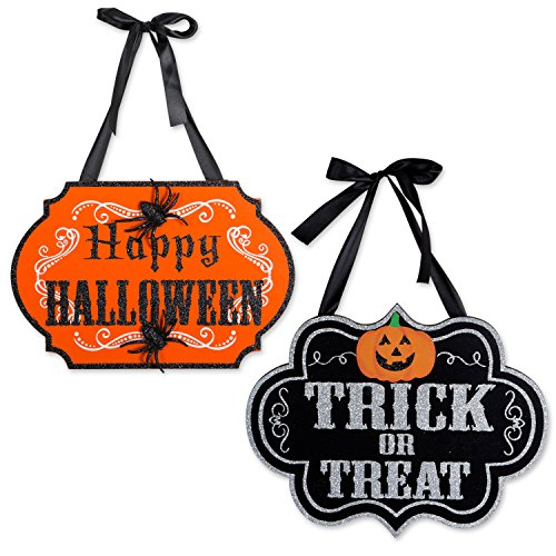 DII Indoor and Outdoor Wood Fall Halloween Hanging Door Decorations and Wall Signs, Haunted House Decor, For Home, School, Office, Party Decorations, Set of 2 - Trick or Treat & Happy Halloween]()