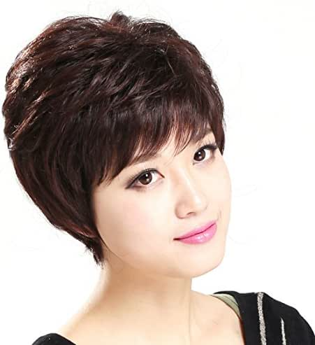 Gooaction Elegant Short Women Wigs Middle-Aged Lady Fluffy Dark Brown Curly Hair Wig