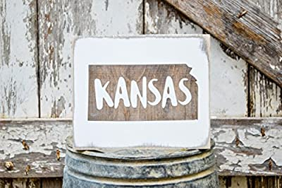MINI Kansas Rustic Wood Signs - Whitewash State Signs - Home State Decor - Personalized State Sign 6x7in