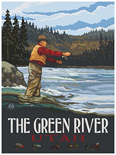 The Green River Utah Fly Fisherman Stream Hills Travel Art Print Poster by Paul A. Lanquist (18