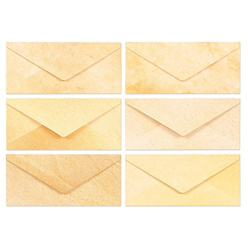 48 Pack Stationery Paper with Envelopes - Old Fashion Aged Classic Vintage Antique Design - 6 Colored Designs - 8.5 x 11 Inch Sheets with 4 x 8.7 Inch Corresponding Envelopes - 48 Sets