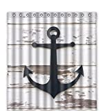 LovingIn Custom Anchor And Rustic Wood Waterproof Polyester Fabric Shower Curtain 66x72inch