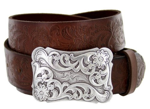 Men's Cowtown Western Tooled Full Grain Leather Belt 1 1/2