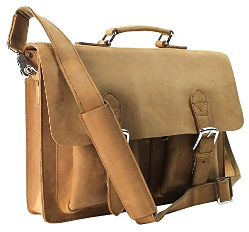 Vagabond Traveler Cowhide Leather Briefcase Laptop Bag L38. Nature Brown by Vagabond Traveler