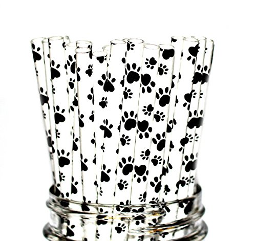Animal Print, Dog, Doggie, Puppy Party Disposable Straws (50 Straws)