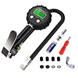 POMILE Digital Tire Inflator with Pressure Gauge 200 PSI Air Chuck and Compressor Accessories Heavy Duty with Rubber Hose, 90 Degree Valve Extender, Quick Connect Coupler for Car, Truck, SUV, Bike, RV