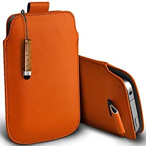 Shelfone Stylish Protective Leather Pull Tab Skin Case Cover For Motorola DROID RAZR XT912 L Includes Stylus Pen Orange