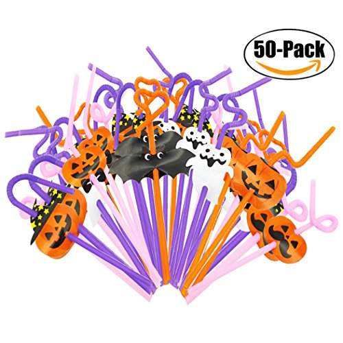 Halloween Straw, Outgeek 50 Pack Pumpkin Ghost Funny Plastic Drinking Straw Disposable Straw For Halloween Party - Halloween Straws