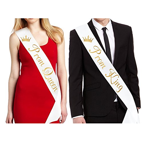 FCAROLYN Prom King and Prom Queen Sashes - White with Gold Lettering - Prom Decorations School Party Accessory -