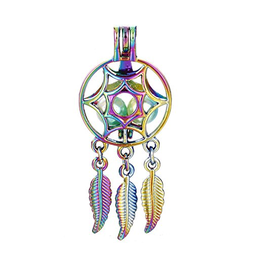 (10pcs Colored Net Wish Dream Catcher Beads Cage Locket Pendant-Add Your Own Pearls, Stones, Crystals to Cage, Add Perfume or Essential Oil to Create a Scent Diffusing Locket Charms (Net-2))