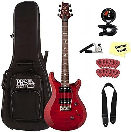 PRS S2 Custom 24, rojo, bolsa de guitarra eléctrica con funda y ...