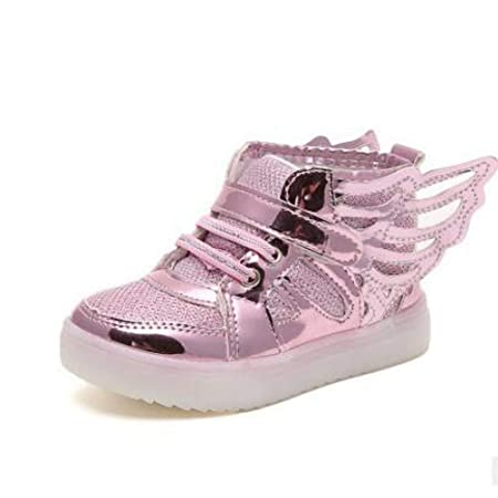 784eee320f9d0f ZHRUI Children Shoes with Wing Breathable Girls Princess Dance Shoes Fashion  LED Lighting Kids Casual Shoes