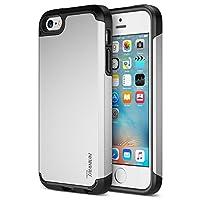Funda ultra protectora para el iPhone SE (2016) y iPhone 5S 5 [Plata] Funda para iPhone SE, Trianium [serie Protak] Funda protectora de doble capa + amortiguador que absorbe los golpes