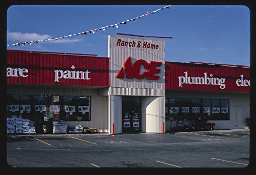 Vintography 24 x 16 Ready to Hang Gallery Wrapped Fine Art Canvas Print of: ACE Hardware, Post Falls, Idaho 2004 Roadside Americana, J Margolies 71a by Vintography