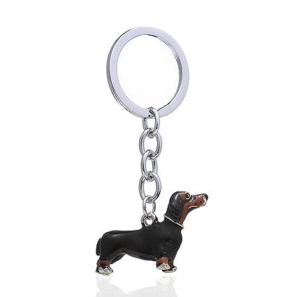 Amazon.com   Key Chain Women Men Enamel Cute Dachshund Dog Key Ring ... 85d4f6b97e