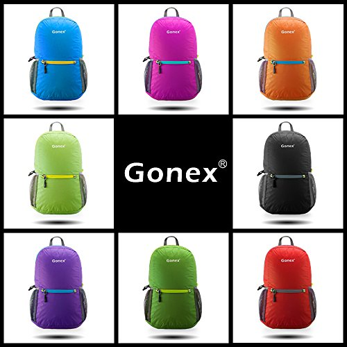 Gonex Ultra Lightweight Packable Backpack Hiking Daypack Handy Foldable Camping Outdoor Travel Cycling School Backpacking 20 Liters(Black)