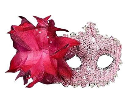 Alien Storehouse Máscara de Mascarada máscara Mascarada Mascara Veneciana con Flor, Rosa