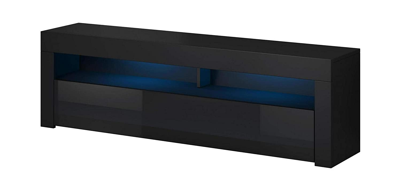 VIVALDI MEBLE LED TV Board Schwarz Matt Hochglanz Fernsehtisch Sideboard Kommode Niedrigboard
