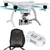 EHang GhostDrone 2.0 Aerial Drone - White/Blue 1 Year Crash Coverage Included Pro Bundle with Extra Battery and Ghost Custom Backpack