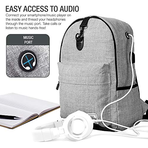 XDesign Travel Laptop Backpack with USB Charging Port +Anti-Theft Lock [Water Resistant] Slim Durable College School Computer Bookbag for Women, Men, Outdoor Camping&Fits Up to 16-inch Notebook -Grey by XDesign  (Image #7)