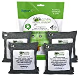 Natural Moso Bamboo Charcoal Air Purifying Bags. Odor Eliminator for Cars Kitchens Closets Bathrooms Pet Areas. Charcoal Color, 4 x 200g Pack