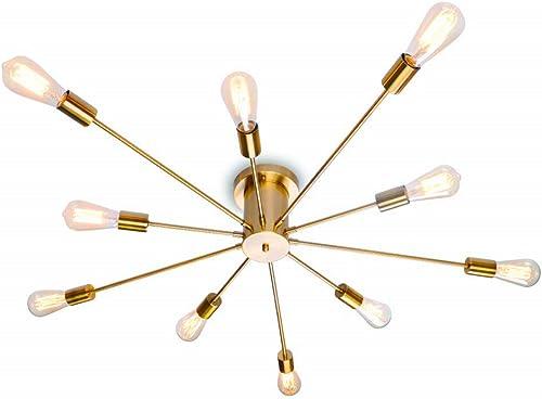 Modern Sputnik Chandelier Black Flush Mount Ceiling Light Rustic Chandelier for Living Room Bedroom Dining Room Kitchen 10 Lights Brass