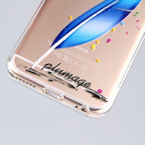 Funda para iPhone 6 Plus / 6s Plus, funda de silicona transparente para iPhone 6 Plus / 6s Plus, iPhone 6 Plus / 6s Plus Case Cover Skin Shell Carcasa Funda, Ukayfe caso de la cubierta de la caja prot Bleu et plumes blanches