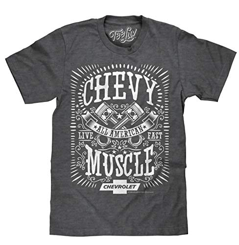 Tee Luv Chevy Shirt All American Muscle - Chevrolet Graphic Tee Shirt (X-Large) Dark Heather