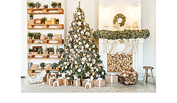 8x12 FT Christmas Vinyl Photography Backdrop,Snowy Winter Xmas Time Happy New Year Greeting Presents Bells Leaves Garland Background for Baby Birthday Party Wedding Graduation Home Decoration