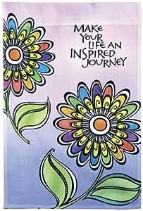 Colorful Flower Inspirational Garden Flag - Make Your Life An Inspired Journe...